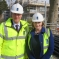 Mary with David Cameron on site